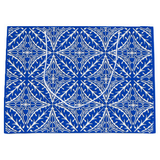 Moroccan tiles - cobalt blue and white large gift bag
