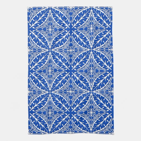 Moroccan tiles - cobalt blue and white hand
