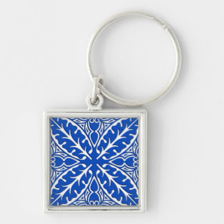 Moroccan tiles - cobalt blue and white key chains