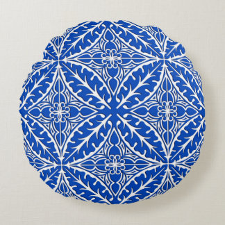 Moroccan tiles - cobalt blue and white round pillow