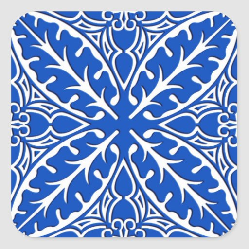 Moroccan tiles - cobalt blue and white square stickers