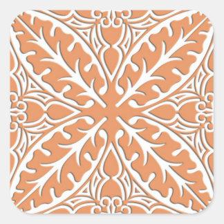 Moroccan tiles - coral orange and white square sticker