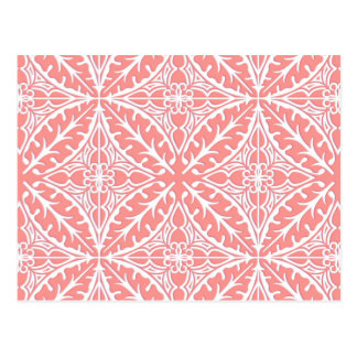 Moroccan tiles - coral pink and white postcard