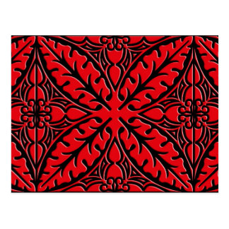 Moroccan tiles - dark red and black postcard
