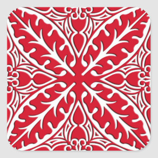 Moroccan tiles - dark red and white square sticker