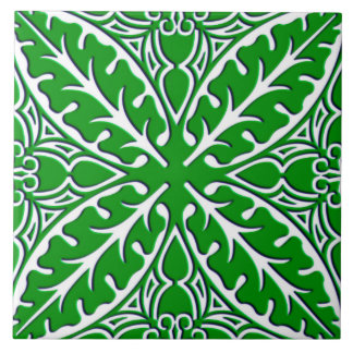 Moroccan tiles - emerald green and white