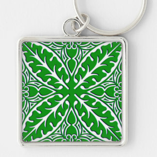 Moroccan tiles - emerald green and white keychain