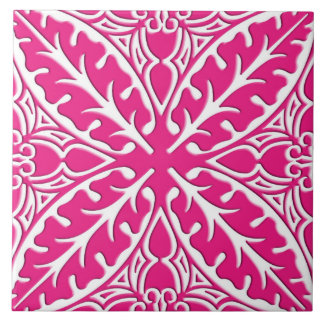 Moroccan tiles - fuchsia pink and white