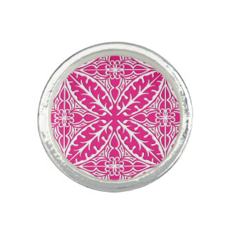Moroccan tiles - fuchsia pink and white ring