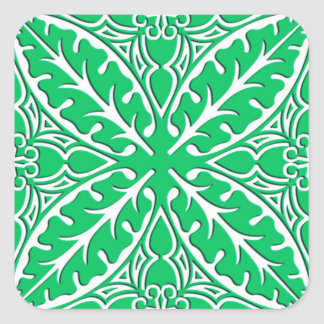 Moroccan tiles - jade green and white square sticker