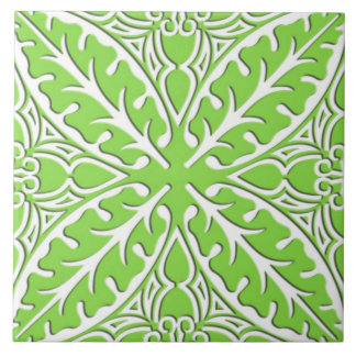 Moroccan tiles - lime green and white