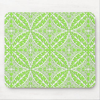 Moroccan tiles - lime green and white mousepad
