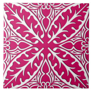 Moroccan tiles - magenta and white