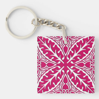 Moroccan tiles - magenta and white Double-Sided square acrylic key ring