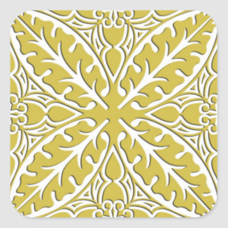 Moroccan tiles - mustard gold and white square sticker