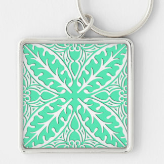 Moroccan tiles - robin's egg blue and white key chains