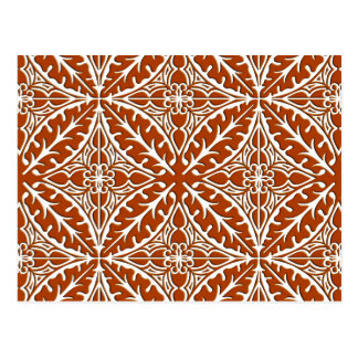 Moroccan tiles - rust brown and white postcard