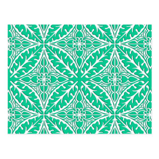 Moroccan tiles - turquoise and white postcard