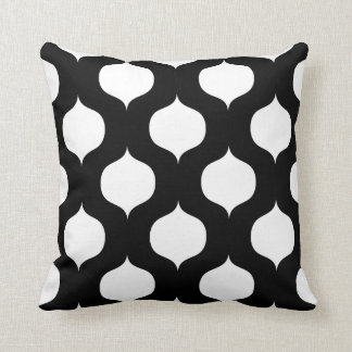 Moroccan Trellis Pattern Pillow in Black and White Throw Cushion