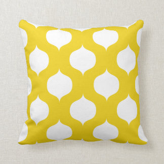 Moroccan Trellis Pattern Pillow in Lemon Yellow Throw Cushion