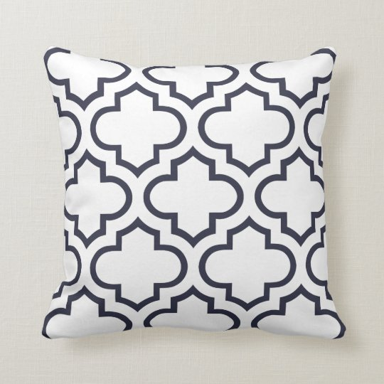 Moroccan Trellis Pattern Pillow in Navy Blue