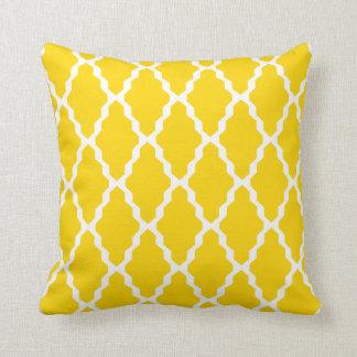 Moroccan Trellis Pillow in Freesia Yellow Throw Cushion