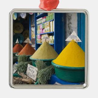 MOROCCO, Atlantic Coast, ESSAOUIRA: Spice Market Silver-Colored Square Decoration