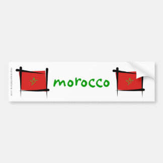 Morocco Brush Flag Bumper Sticker