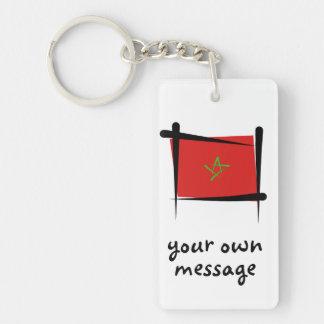 Morocco Brush Flag Double-Sided Rectangular Acrylic Key Ring