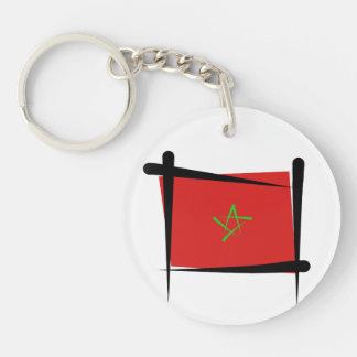 Morocco Brush Flag Double-Sided Round Acrylic Key Ring
