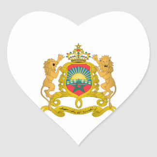 Morocco Coat of Arms Heart Sticker