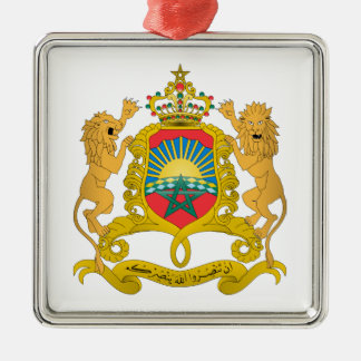 Morocco Coat of Arms Silver-Colored Square Decoration