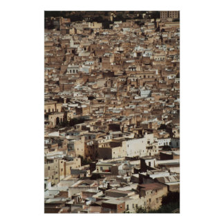 Morocco, Fes, Aerial view of Cityscape Poster