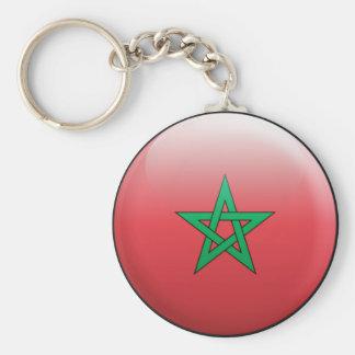 Morocco Flag Basic Round Button Key Ring