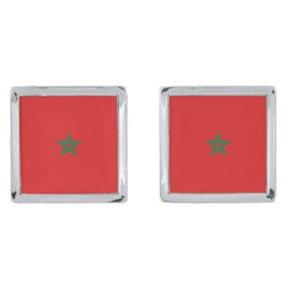 Morocco Flag Cufflinks Silver Finish Cufflinks