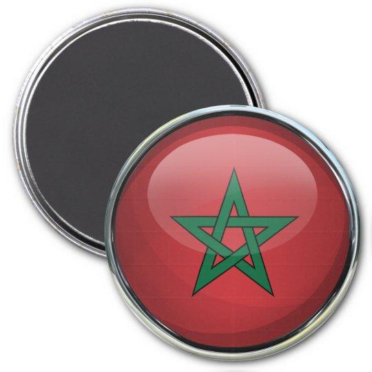 Morocco Flag Glass Ball 7.5 Cm Round Magnet