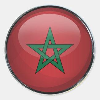 Morocco Flag Glass Ball Classic Round Sticker