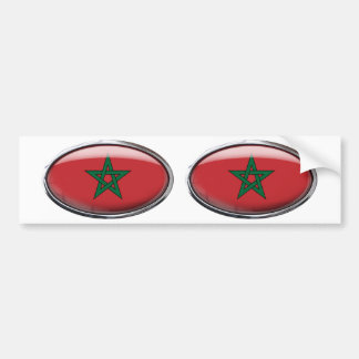 Morocco Flag Glass Oval Bumper Sticker