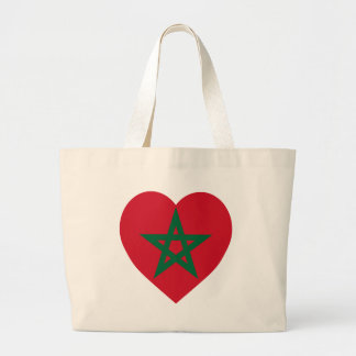 Morocco Flag Heart Tote Bags
