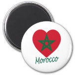Morocco Flag Heart Fridge Magnets