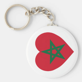 Morocco Flag Heart Key Chains