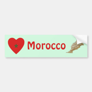 Morocco Flag Heart + Map Bumper Sticker