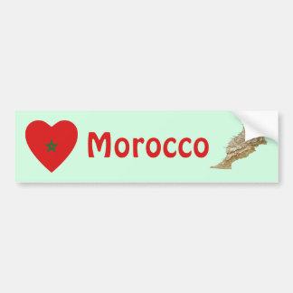 Morocco Flag Heart + Map Bumper Sticker Car Bumper Sticker