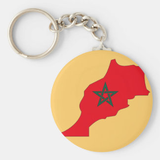 Morocco flag map basic round button key ring