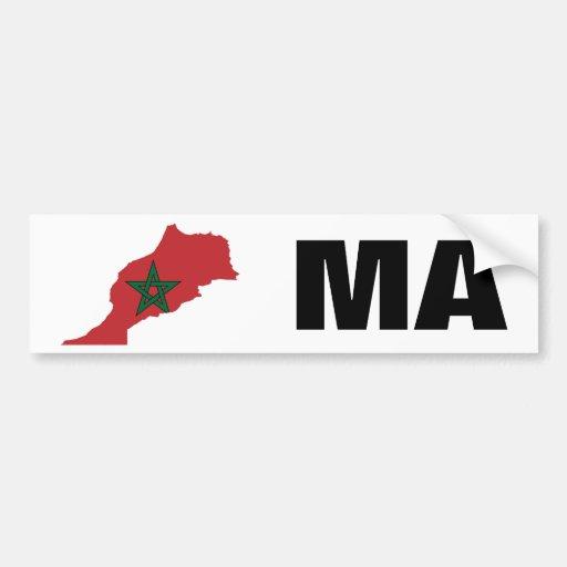 Morocco Flag Map Bumper Sticker