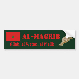 Morocco Flag + Map Bumper Sticker
