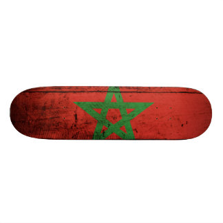 Morocco Flag on Old Wood Grain 20.6 Cm Skateboard Deck