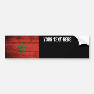 Morocco Flag on Old Wood Grain Bumper Sticker