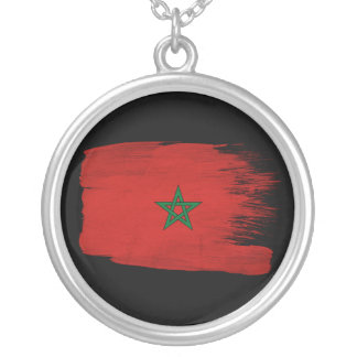 Morocco Flag Round Pendant Necklace