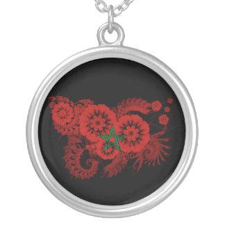 Morocco Flag Round Pendant Necklace